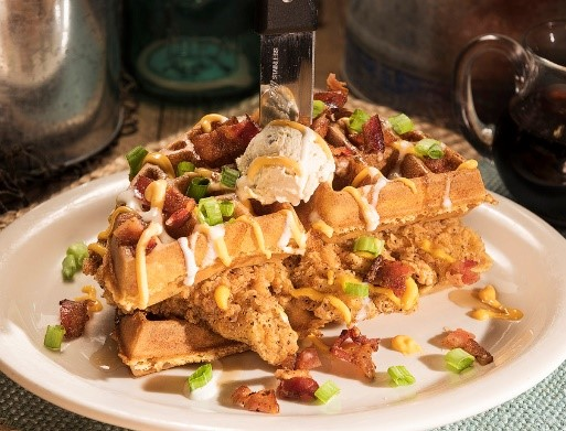 Huckleberry's Stacked Chicken and Waffles
